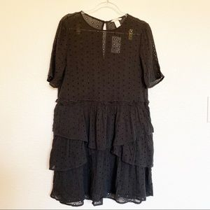H&M Black Dot Cut Out Layered Ruffled Mini Dress